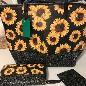 Sunflower tote 3 pc set